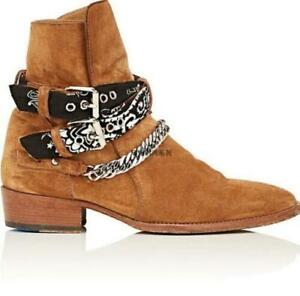 Men Pointy Toe Suede Leather Chain Buckle Cowboy Ankle Chelsea Boot Motor Shoes