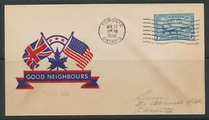1943 Canada FDC #C8 (7c) ~ WW2 Canadian Air Force Cadets ~ Union Jack Neighbours