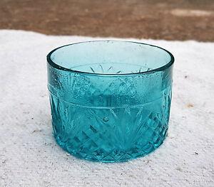 Vintage Unique Design Engraved Glass Aqua Blue Glass Carnival Bowl Mint Japan