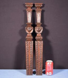 "*Pair of 25"" French Antique Solid Walnut Trim Posts/Pillars/Columns Salvage"