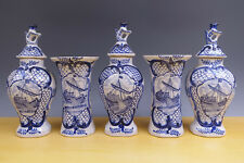 Antique Dutch Delft 5-Piece Garniture Fishing-Boat Biblical 19TH C.''Kaststel''