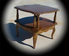DOUBLE TIER DRUM END SIDE SQUARE TABLE OCCASIONAL SCALLOPED MID CENTURY MODERN