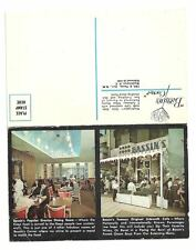 WASHINGTON DC Bassin's Sidewalk Cafe Vtg Postcard Menu
