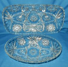 2 pieces Crystal Relish Serving Tray Dish & oval Bowl Star of David Americana