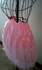 Vintage Handmade Checkered Apron Tie back with pocket Pink and White Lace edge