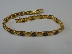 "Ladies 9ct Gold Black 1.20ct Diamond Cluster X Link 7.5"" Bracelet + Appraisal"