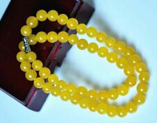 Pretty 8mm Natural Yellow Jade Gemstone Necklace Chain 18 inch