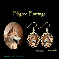 DINGO DOG - GOLD FILIGREE EARRINGS Jewelry