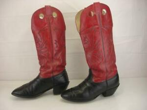 Nocona Buckaroo Boots Mens sz 10.5 2E EE Wide Knee High Black Red Leather Cowboy