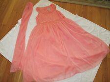 Cotton Kids Long Dress Scarf Set Girls Size 14 Beaded Sequins Crinkles Maxi