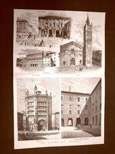 La città di Parma nel 1877 Piazza Grande Palazzo Reale Duomo Battistero Farnese
