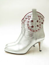 Marc Jacobs Boot Georgia Metallic Leather Cowboy Silver Size 38 New without Box