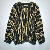 Vintage 90s COOGI Australia Mens XL Textured 3D Sweater Biggie Cosby Camo Colors