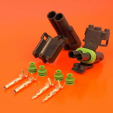 Genuine 2 Way / Pin Male & Female Delphi Weatherpack Series Connector Kit
