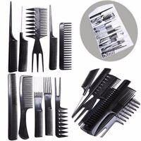 10pcs Pro Salon Hair Styling Hairdressing Black Plastic Barbers Brush Combs Set