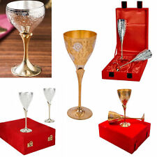 Goblet Glass Handcrafted Silver Gold Plated Coated Two Tone Wine Goblet Glass