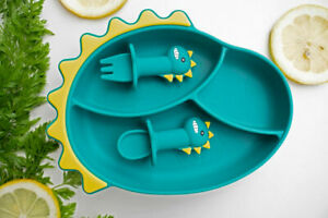 3pc - High Quality Silicone Dinosaur Divided Suction Plate Fork Spoon Set - AU