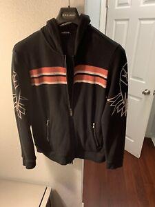 $649 Authentic ROBERTO CAVALLI Made in ITALY 🇮🇹 Black Jacket W/Hoodie Sz.XL
