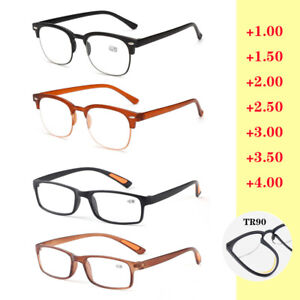 Plastic Reading Glasses +1.0 +1.5 to +4.0 Resin Lens TR90 Frame Eyewear Quality