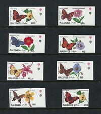 Maldives 1991 #1563-70  IMPERF butterflies flora    8v.  MNH  G664