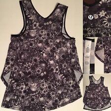 Lululemon 2  Black White Floral Swim Split Singlet Gym Run Tank EUC