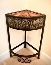 Corner accent table, black frame with wicker top, 18.5 x 8.5