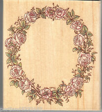 Cynthia Heart Rubber Stamp 593H,  Wreath of Roses, Flowers, Nature  S10