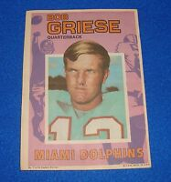 Vintage Topps Football Insert Poster Bob Griese Dolphins