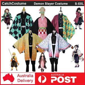 Anime Demon Slayer Kimetsu No Yaiba Cosplay Costume Wig Kimono Suit Halloween