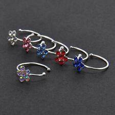 Hot Fashion Women's Rhinestone Nose Ring Shiny Flower Hoop Stud Jewelry Gift