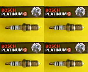 New SET OF 4 BOSCH Platinum+2 Spark Plugs - 4304 Made in Germany