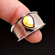 925 Sterling Silver Natural Ammolite Ring 9.5 US Pear Design Unisex silver Rings