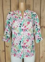 CORAL BAY Womens Size Medium Petite 3/4 Sleeve Shirt Texture Cotton Floral Top