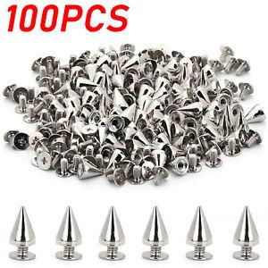 100 PCS Trendy 10MM Silver Spots Cone Screw Metal Studs Rivet Bullet Spikes USA