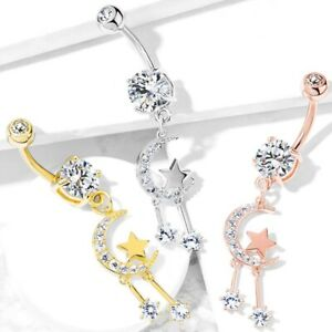 """MOON STAR COMBO DANGLE BELLY BUTTON RING NAVEL PIERCING JEWELRY (14G 3/8"""")"""