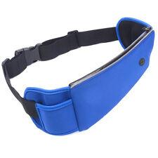 Azul de gran capacidad al aire libre corriendo Multifunción Correa De Cintura Bolso Auriculares agujero
