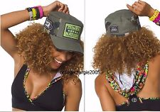 ZUMBA NATION 2Pc.SET! Mashed Up Hooded Bra Top+Patched Up Military Hat Cap S M L
