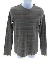 Self Esteem Girls Grey Multi Color Stripe Long Sleeve High Neck Top Size Large