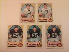 Vtg Lot 1970 TOPPS 5 Cards OAKLAND RAIDERS (2) Daryle Lamonica #50, Dan Conners