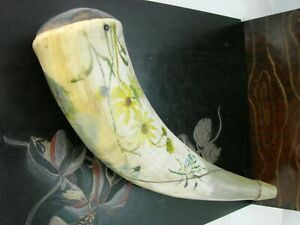 Antique Authentic Buffalo Horn Powder Horn with Pastoral Motif MBM