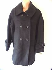 Mango Black 3/4 Wool Coat Jacket with Pockets UK Size 8