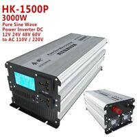1500W-3000W Pure Sine Wave Power Inverter DC12V 24V 48V 60V 72V to AC 110V 220V