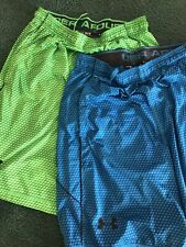 Under Armour Men's 2 Pair Of Blue/Green Basketball Shorts Size M