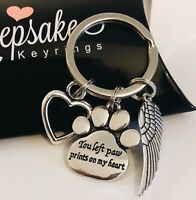 In Memory Of Pet Dog Cat Bereavement Keyring Memorial Angel Wing Paw Print Heart
