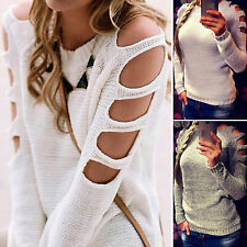 Womens Cut Out Sleeve Jumper Pullover Tops Fashion Casual Knit Sweater T Shirt