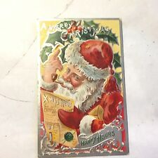 "Vtg Embossed Santa ""A Merry Christmas"" Reading Xmas News Happy Hours Metallic"
