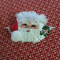 Hand Painted Santa Claus and Holly Crab Shell with fur and felt trimmed ornament