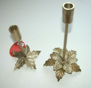 NEW NWT Opalhouse Metal Gold Candle Holder Opal House Poinsettia Christmas 12 in