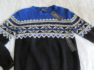 NEW Ralph Lauren Polo 100% Cotton Ski Sweater Blk/Blue/Cream sz 7 FREE SHIP