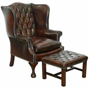 MADE IN ENGLAND CHESTERFIELD LEATHER WINGBACK CLAW & BALL ARMCHAIR + FOOTSTOOL